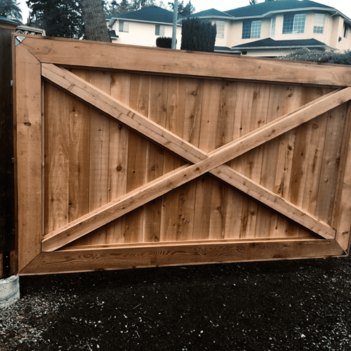 Large wooden gate.