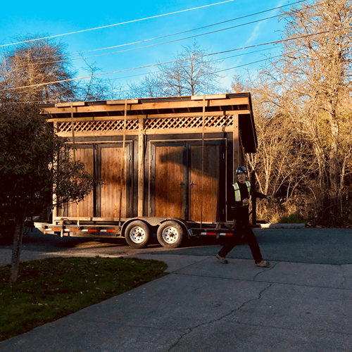Delivering the shed.